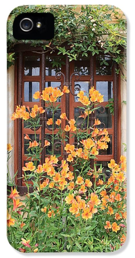 Alstroemeria IPhone 5 / 5s Case featuring the photograph Carmel Mission Window by Carol Groenen