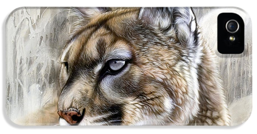 Acrylic IPhone 5 / 5s Case featuring the painting Catamount by Sandi Baker