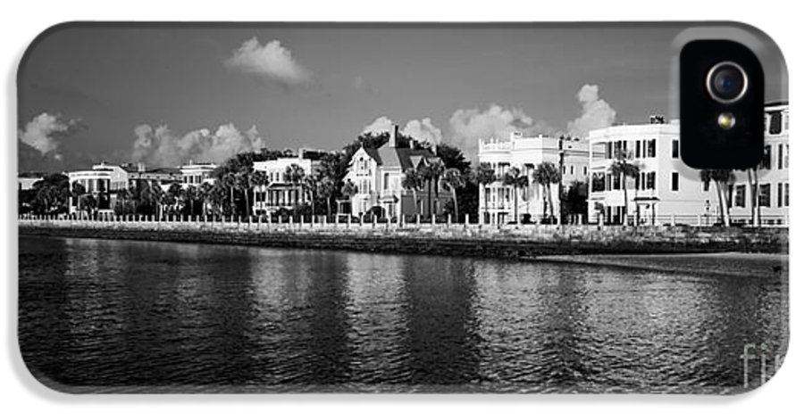 Battery Row IPhone 5 / 5s Case featuring the photograph Charleston Battery Row Black And White by Dustin K Ryan
