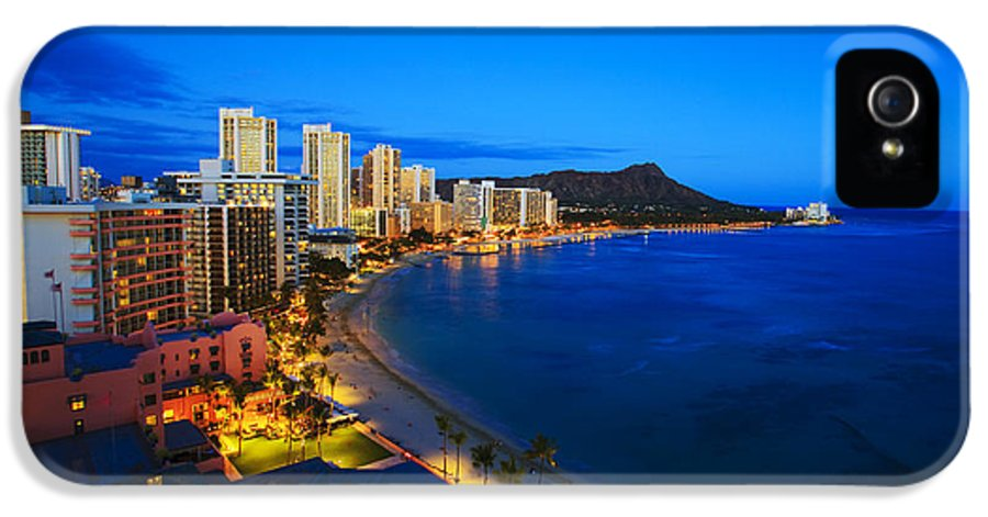 Above IPhone 5 / 5s Case featuring the photograph Classic Waikiki Nightime by Tomas del Amo - Printscapes