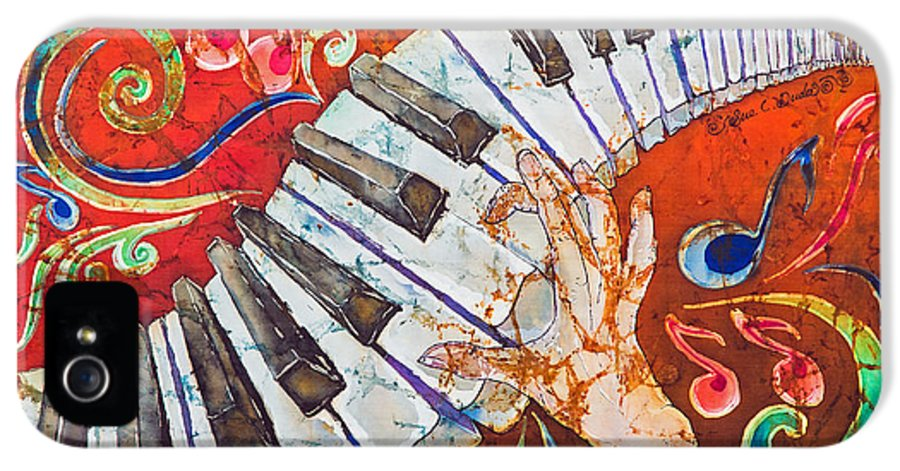 Piano IPhone 5 / 5s Case featuring the painting Crazy Fingers - Piano Keyboard by Sue Duda