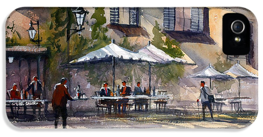 City Scene IPhone 5 / 5s Case featuring the painting Dining Alfresco by Ryan Radke