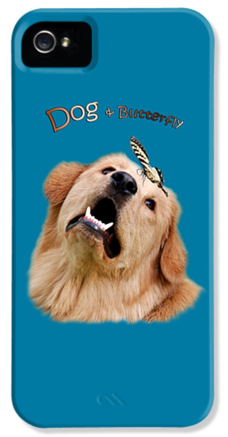 Dog IPhone 5 / 5s Case featuring the digital art Dog And Butterfly by Christina Rollo
