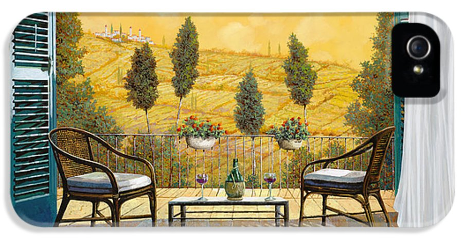 Terrace IPhone 5 / 5s Case featuring the painting due bicchieri di Chianti by Guido Borelli