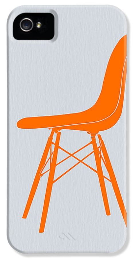 Eames Chair IPhone 5 / 5s Case featuring the drawing Eames Fiberglass Chair Orange by Naxart Studio
