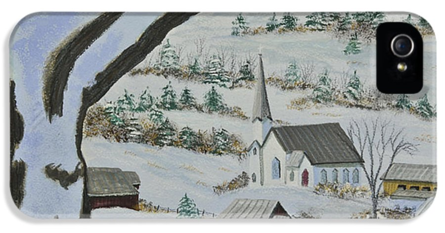 Winter Scene Paintings IPhone 5 / 5s Case featuring the painting East Orange Vermont by Charlotte Blanchard