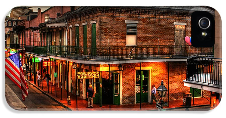 New Orleans IPhone 5 / 5s Case featuring the photograph Evening On Bourbon by Greg and Chrystal Mimbs