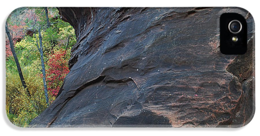 Photo IPhone 5 / 5s Case featuring the photograph Fall Colors Peek Around Mountain Horizontal Number 1 by Heather Kirk