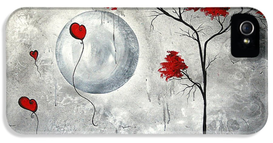 Abstract IPhone 5 / 5s Case featuring the painting Far Side Of The Moon By Madart by Megan Duncanson
