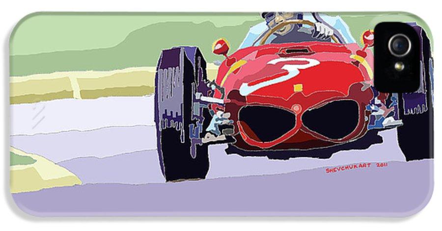 Automotive IPhone 5 / 5s Case featuring the digital art Ferrari 156 Dino 1962 Dutch Gp by Yuriy Shevchuk