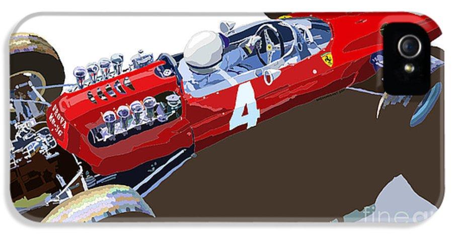 Automotiv IPhone 5 / 5s Case featuring the digital art Ferrari 158 F1 1965 Dutch Gp Lorenzo Bondini by Yuriy Shevchuk