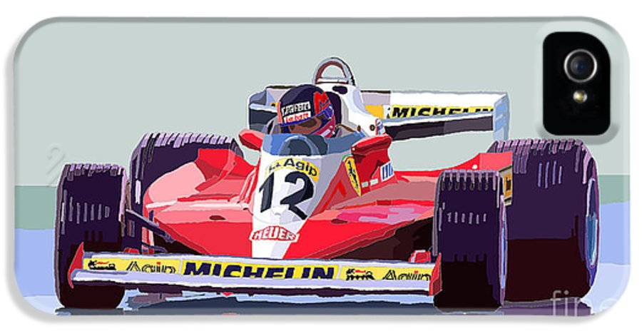 Automotiv IPhone 5 / 5s Case featuring the digital art Ferrari 312 T3 1978 Canadian Gp by Yuriy Shevchuk