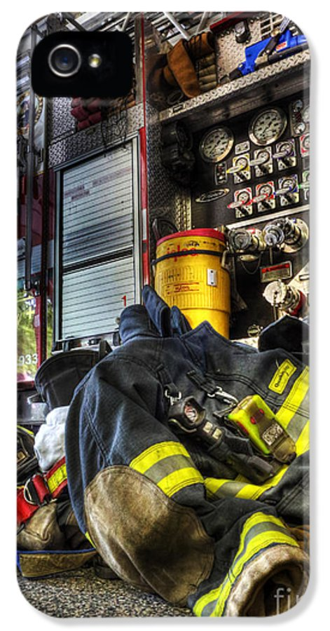 Bravest IPhone 5 / 5s Case featuring the photograph Fireman - Always Ready For Duty by Lee Dos Santos
