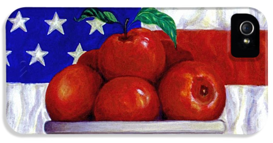 American Flag IPhone 5 / 5s Case featuring the painting Flag And Apples by Linda Mears