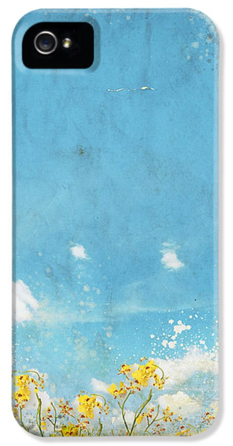 Abstract IPhone 5 / 5s Case featuring the painting Floral In Blue Sky And Cloud by Setsiri Silapasuwanchai