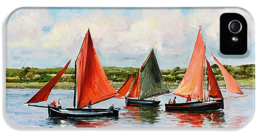 Galway Hooker IPhone 5 / 5s Case featuring the painting Galway Hookers by Conor McGuire