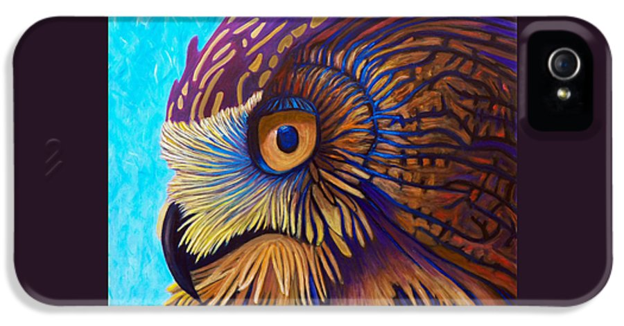 Owl IPhone 5 / 5s Case featuring the painting Golden Silence by Brian Commerford