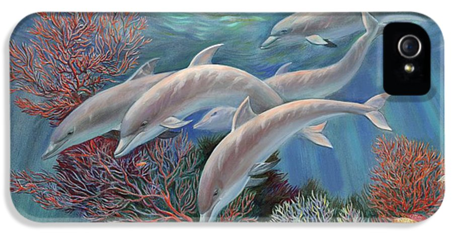 Dolphin IPhone 5 / 5s Case featuring the painting Happy Family - Dolphins Are Awesome by Svitozar Nenyuk