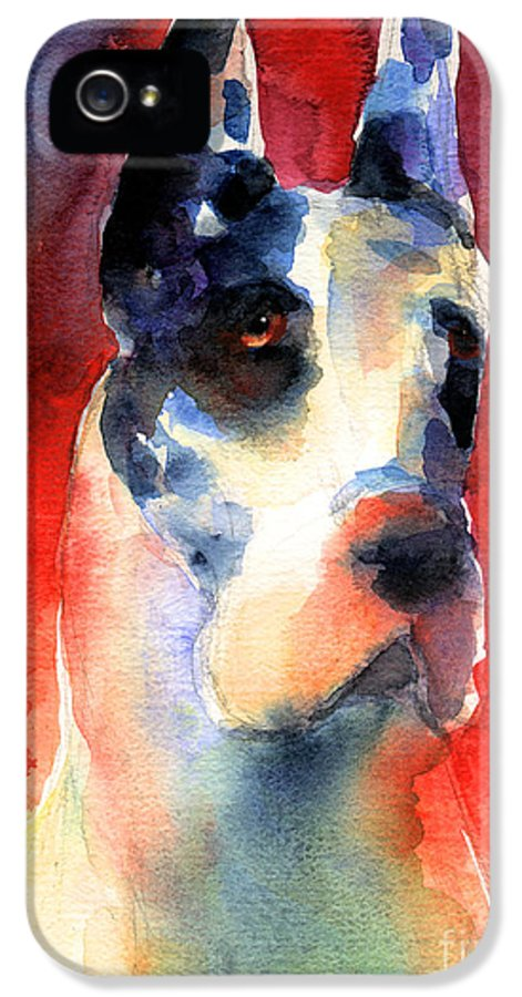 Great Dane Painting IPhone 5 / 5s Case featuring the painting Harlequin Great Dane Watercolor Painting by Svetlana Novikova