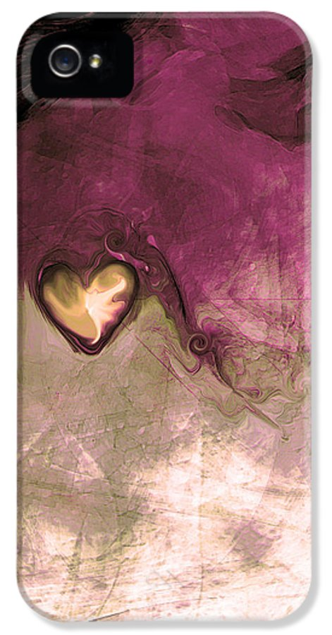 Heart Of Gold IPhone 5 / 5s Case featuring the digital art Heart Of Gold by Linda Sannuti