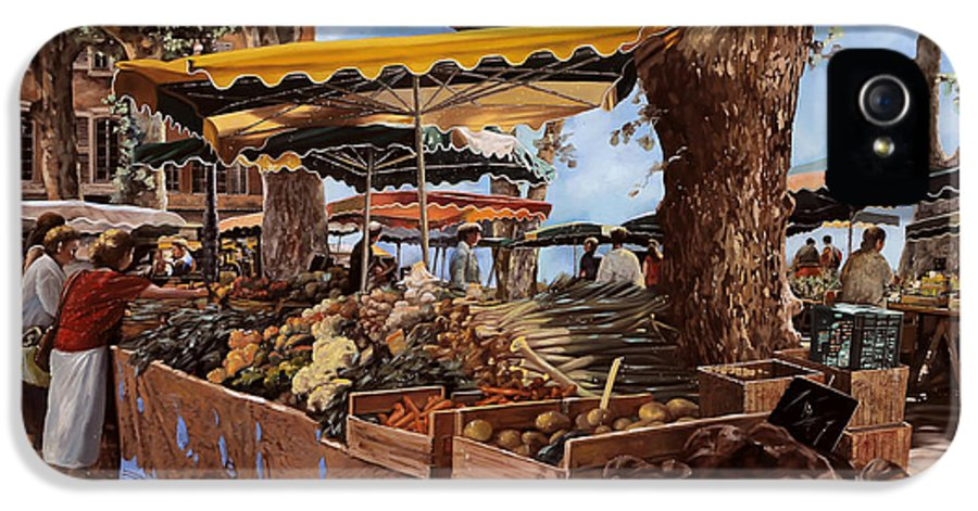 St Paul IPhone 5 / 5s Case featuring the painting il mercato di St Paul by Guido Borelli