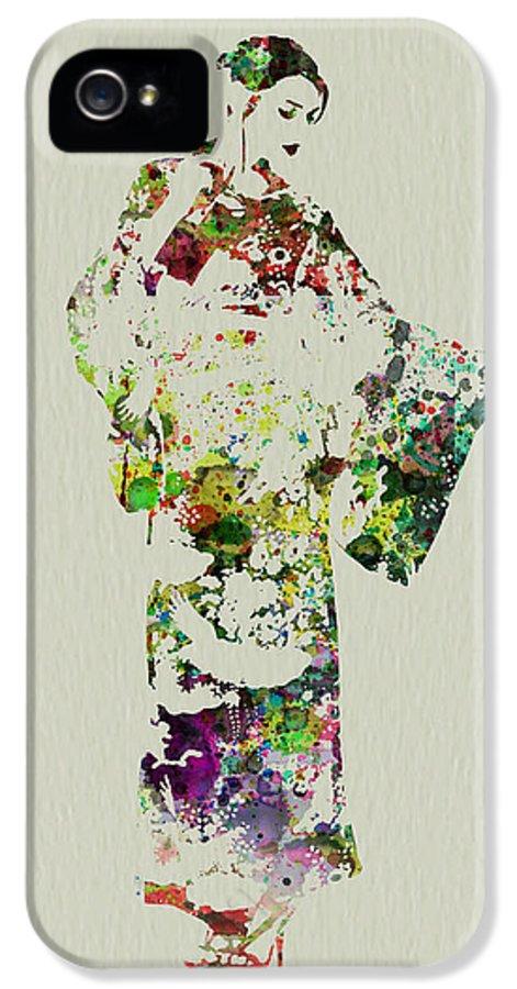 Kimono IPhone 5 / 5s Case featuring the painting Japanese Woman In Kimono by Naxart Studio
