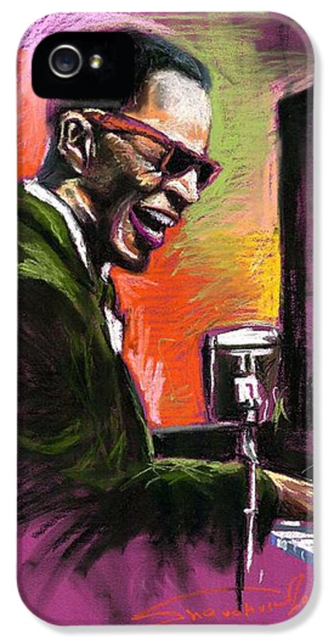 IPhone 5 / 5s Case featuring the painting Jazz. Ray Charles.2. by Yuriy Shevchuk
