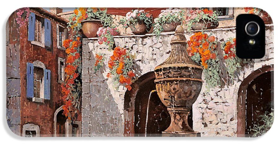 St Paul IPhone 5 / 5s Case featuring the painting la fontana a St Paul de Vence by Guido Borelli