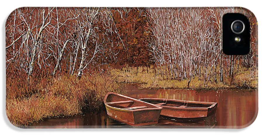 Boats IPhone 5 / 5s Case featuring the painting Le Barche Sullo Stagno by Guido Borelli