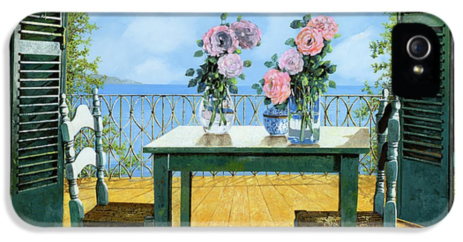 Terrace IPhone 5 / 5s Case featuring the painting Le Rose E Il Balcone by Guido Borelli