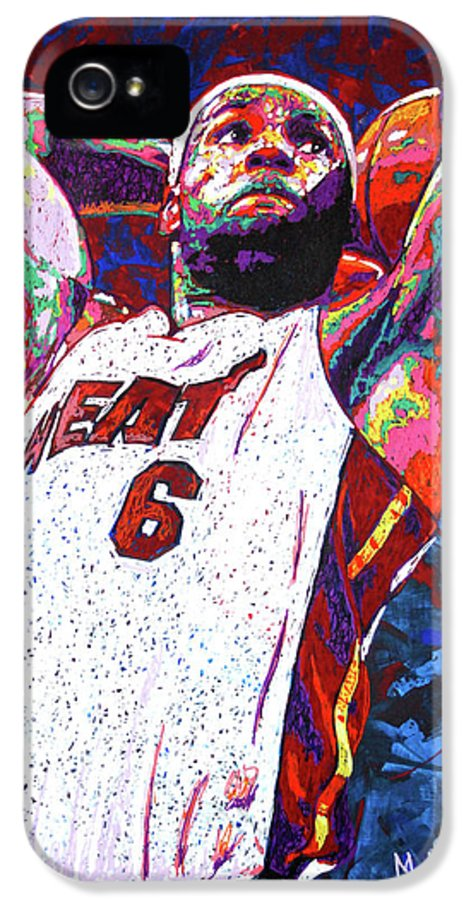 Lebron IPhone 5 / 5s Case featuring the painting Lebron Dunk by Maria Arango