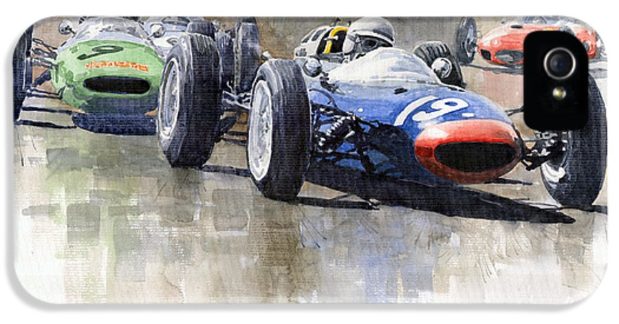 Automotive IPhone 5 / 5s Case featuring the painting Lola Lotus Cooper Ferrari Datch Gp 1962 by Yuriy Shevchuk