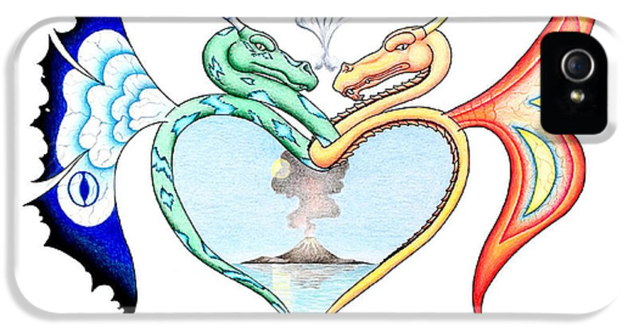 Fantasy IPhone 5 / 5s Case featuring the drawing Love Dragons by Robert Ball