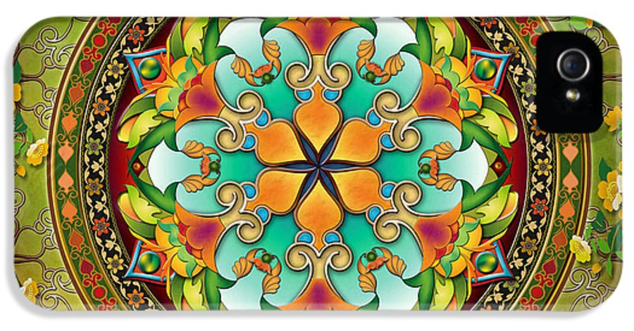 Mandala IPhone 5 / 5s Case featuring the digital art Mandala Evergreen by Bedros Awak