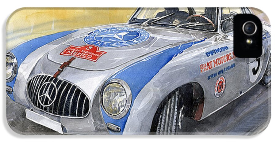 Automotive IPhone 5 / 5s Case featuring the painting Mercedes Benz 300 Sl 1952 Carrera Panamericana Mexico by Yuriy Shevchuk