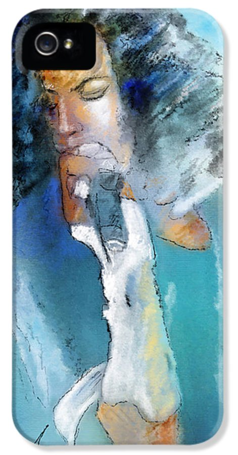 Music IPhone 5 / 5s Case featuring the painting Michael Jackson 04 by Miki De Goodaboom
