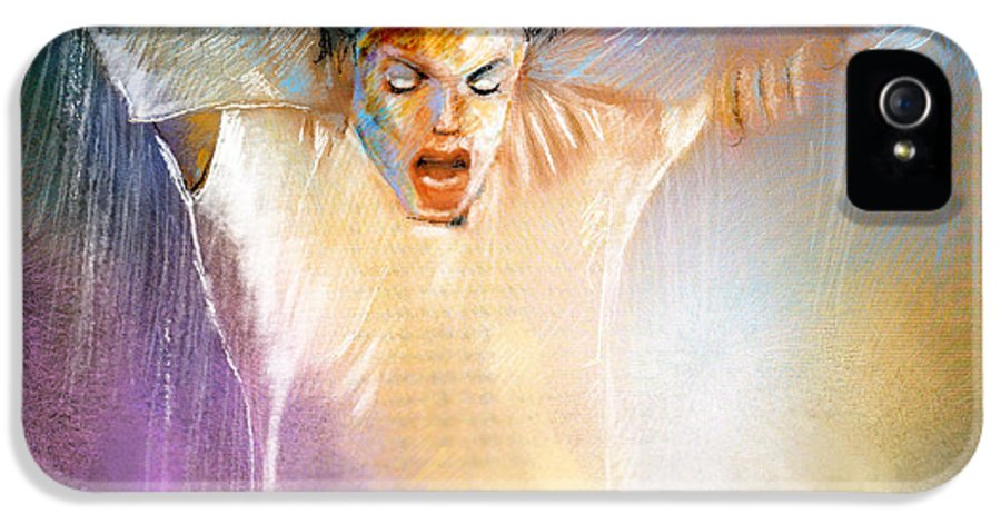 Music IPhone 5 / 5s Case featuring the painting Michael Jackson 09 by Miki De Goodaboom