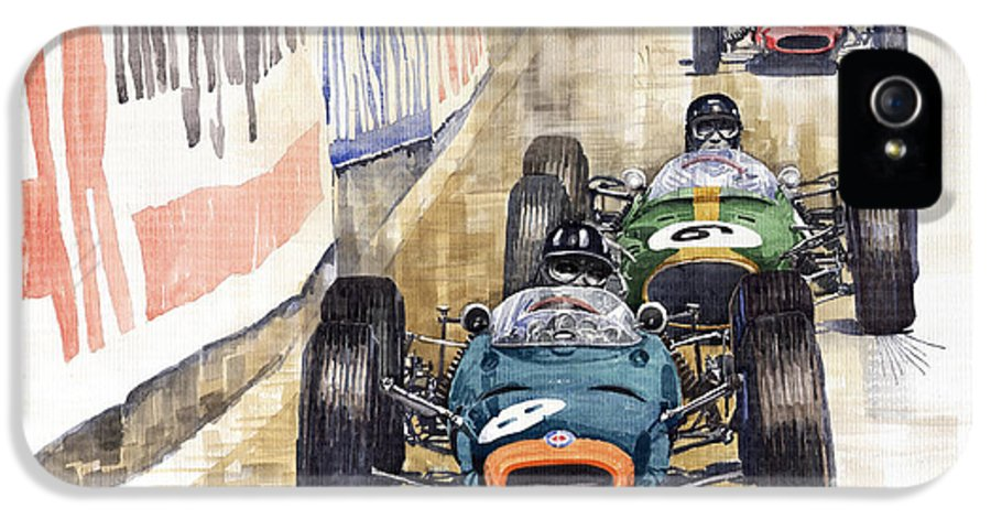 Watercolour IPhone 5 / 5s Case featuring the painting Monaco Gp 1964 Brm Brabham Ferrari by Yuriy Shevchuk