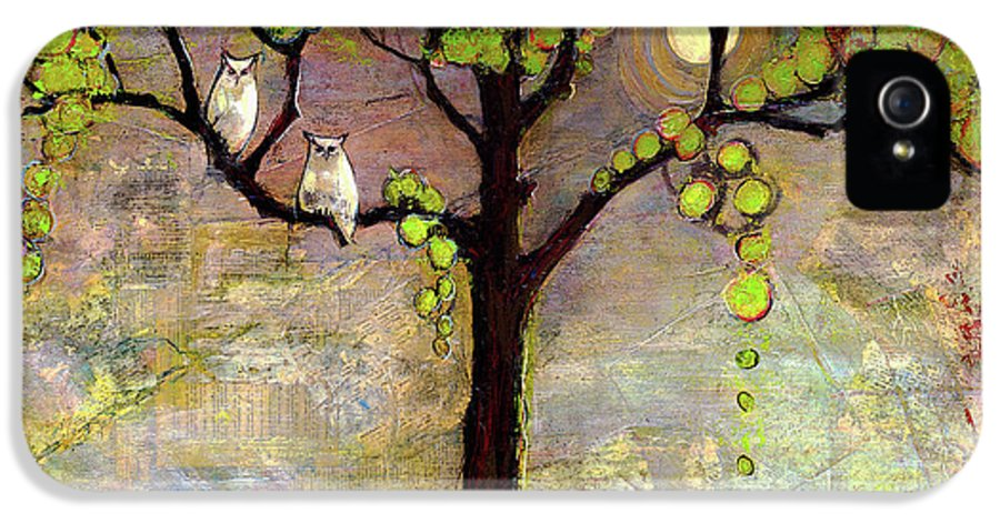 Paintings IPhone 5 / 5s Case featuring the painting Moon River Tree Owls Art by Blenda Studio