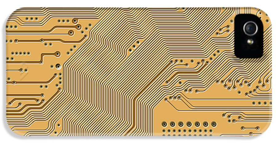 Circuit IPhone 5 / 5s Case featuring the digital art Motherboard - Printed Circuit by Michal Boubin