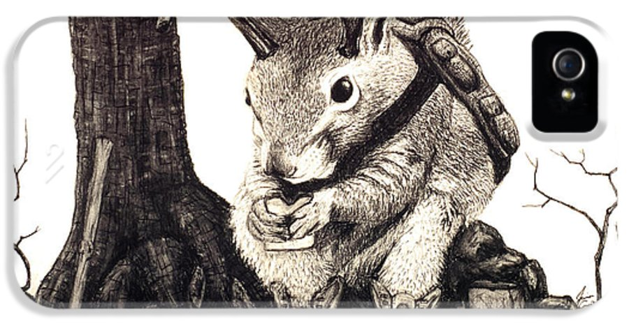 Animal IPhone 5 / 5s Case featuring the drawing Nature Hike by Jaison Cianelli