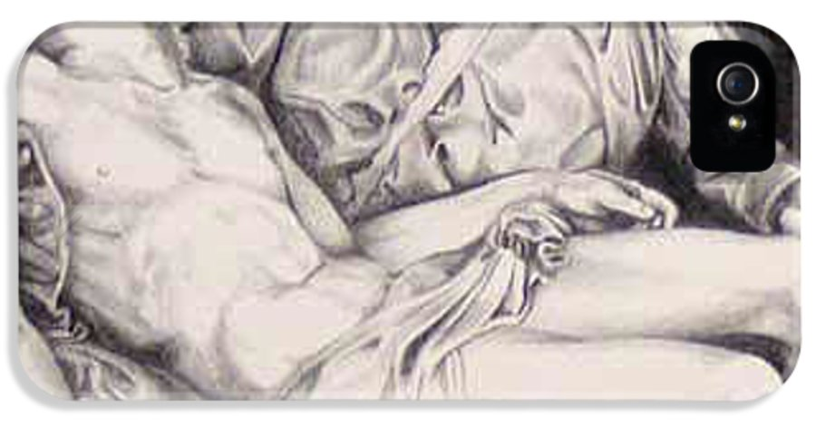 Jesus IPhone 5 / 5s Case featuring the drawing Nothing Can Be Added - Close Up Pieta by Amy S Turner
