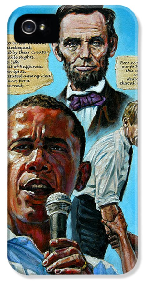 Obama IPhone 5 / 5s Case featuring the painting Obamas Heritage by John Lautermilch
