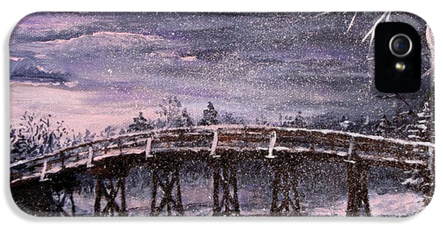 Old North Bridge IPhone 5 / 5s Case featuring the painting Old North Bridge In Winter by Jack Skinner