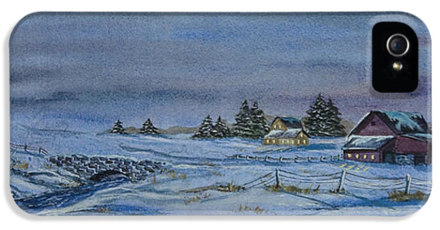 Winter Scene Paintings IPhone 5 / 5s Case featuring the painting Over The Bridge And Through The Snow by Charlotte Blanchard
