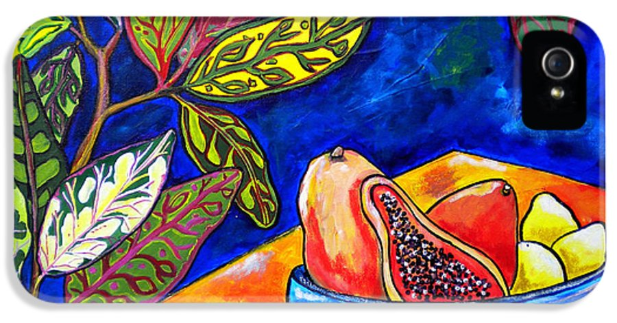 Tropical IPhone 5 / 5s Case featuring the painting Papaya Morning by Patti Schermerhorn
