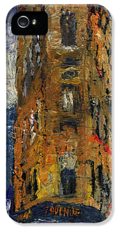 Oil IPhone 5 / 5s Case featuring the painting Paris Hotel 7 Avenue by Yuriy Shevchuk