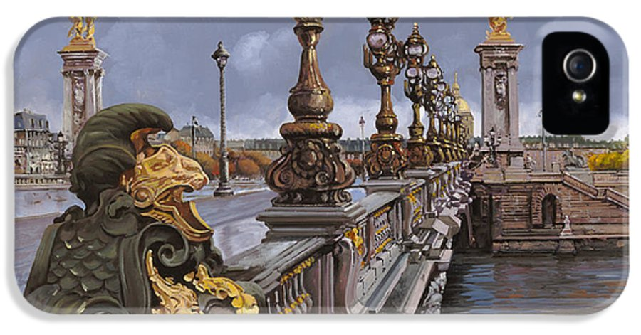 Paris IPhone 5 / 5s Case featuring the painting Paris-pont Alexandre IIi by Guido Borelli