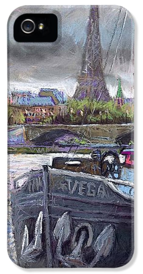 Pastel IPhone 5 / 5s Case featuring the painting Paris Pont Alexandre IIi by Yuriy Shevchuk