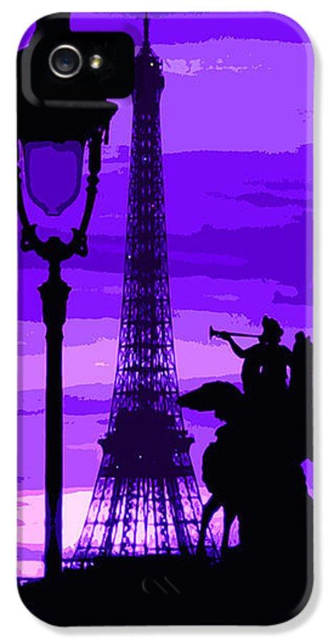 Paris IPhone 5 / 5s Case featuring the photograph Paris Tour Eiffel Violet by Yuriy Shevchuk